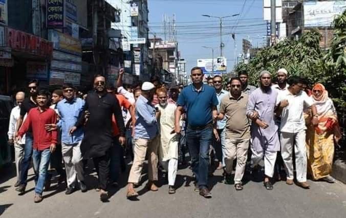 বেগম জিয়ার মুক্তি দাবীতে ফেনীতে বিএনপির বিক্ষোভ